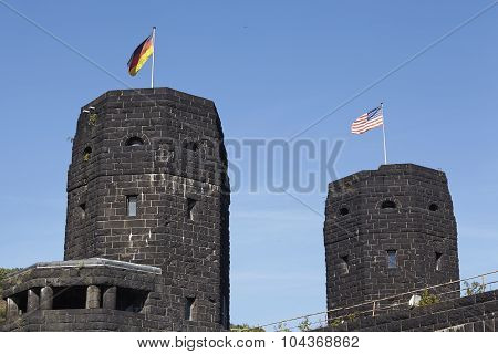 Remagen - The Remagen Bridge With Flags Of Allies And Germany