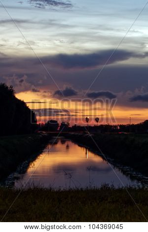 Sunset Reflected in Canal