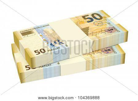 Azerbaijan manat isolated on white background. Computer generated 3D photo rendering.