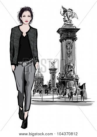 woman walking on Alexandre III Bridge in Paris France - vector illustration