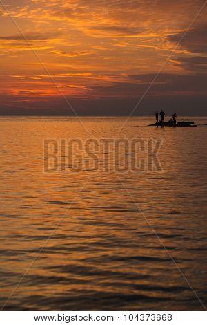 Big Game Fishing At Sunset.