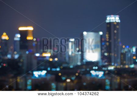 Blurred bokeh city lights at night