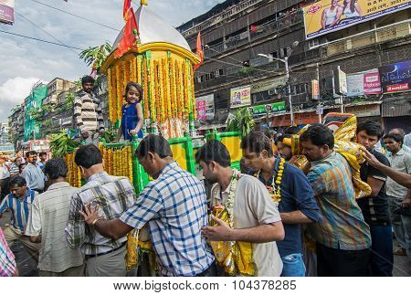 Hindu Devotees Circling Around Lord Jagannath Chariot With His Idol On Rathjatra.