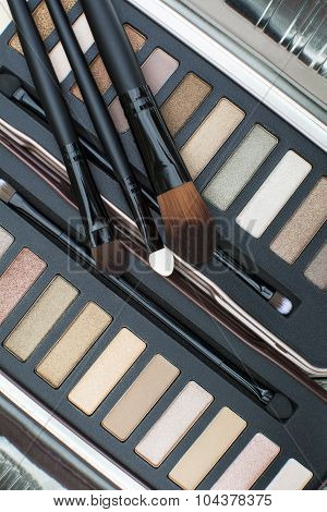 eye shadows makeup palette with makeup brushes