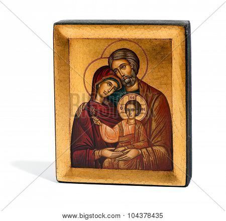 Gilded Wooden Icon Of Joseph, Mary And Jesus