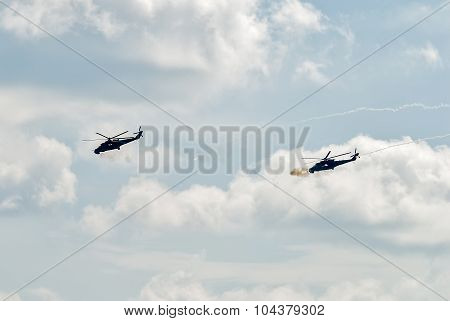 Attack of MI-24 helicopters by machine guns