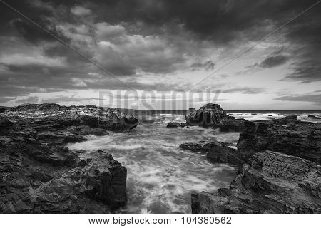 Beautiful Sunrise Landscape Of Godrevy On Cornwall Coastline In England Black And White