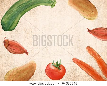A template with watercolor drawings of rustic vegetables