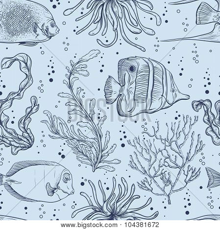 Seamless pattern with tropical fish, marine plants and seaweed. Vintage hand drawn vector illustrati