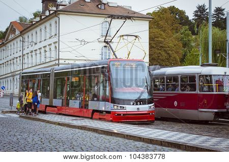 High-tech trams Skoda in Prague
