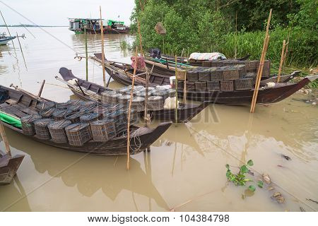 Fishing Boats On Ywe River In Myanmar