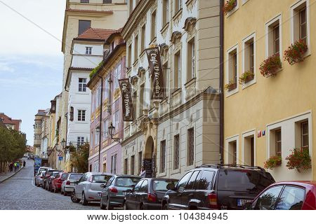 The cars station on the street Mala Strana Prague's