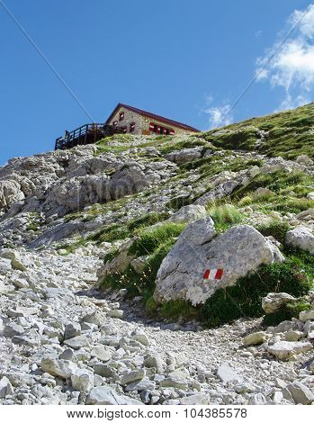Rocky Path And Refuge On The Gran Sasso, Italy