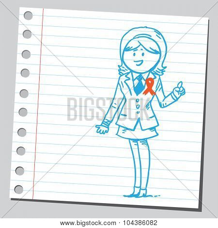 Businesswoman with awareness ribbon