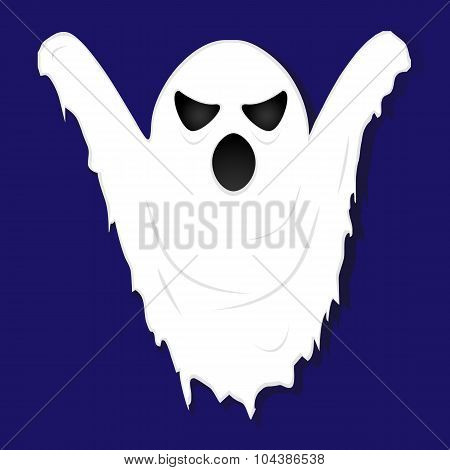 Terrible Gloomy Ghost On Striped Background