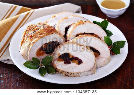 Roasted pork loin stuffed with dried fruits