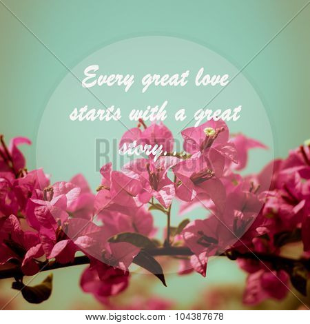 Meaningful Quote On Pink Bougainvillea Flower  Background