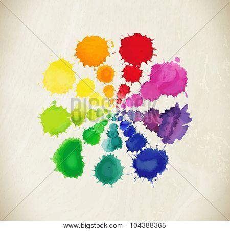 Colorful watercolor splashes isolated on white background