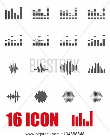Vector Grey Music Soundwave Icon Set