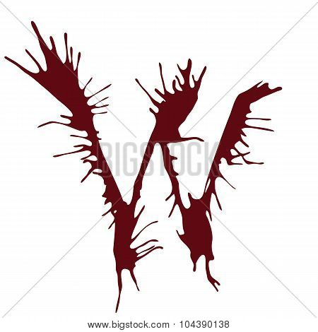 Dripping blood ink fonts the letter W.