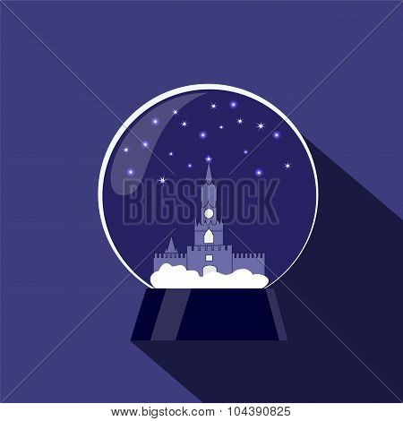 Snow Globe With Kremlin. Christmas Decoration. Stock Vector Illustration