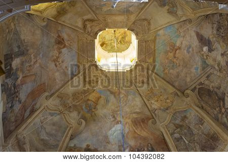 High ceiling painted with religious frescoes in the Cathedral Of St. Nicholas