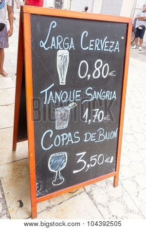 Sign advertising beer and sangria