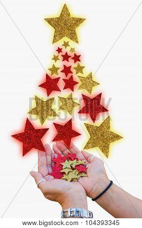 Christmas Tree Made With Stars