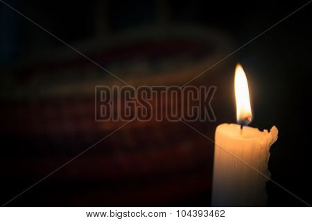 Close up on a burning candle