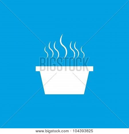 Hot saucepan icon, white