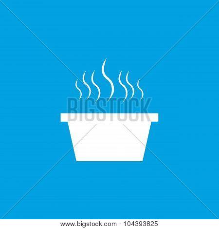 Hot saucepan icon, white
