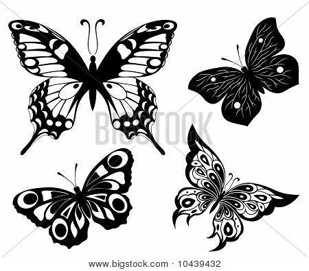 Schwarz weiß-Set Schmetterlinge Tattoos