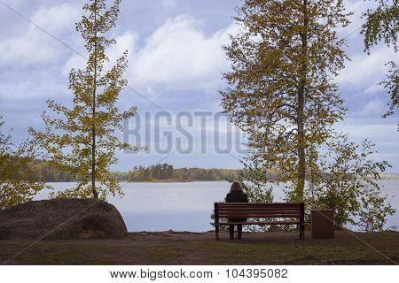 Lonely girl on a bench in autumn Monrepos park