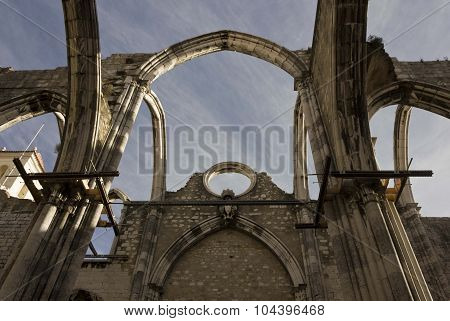 Looking Up At The Damages Roof Of Carmo Convent In Lisbon