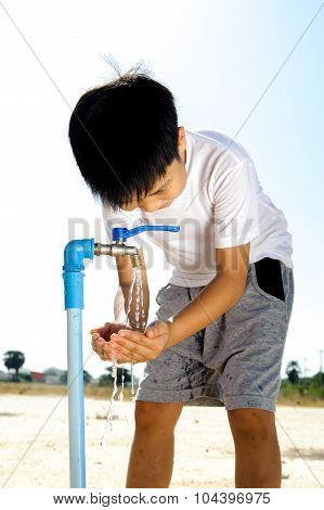 Water Faucet On Dry Land
