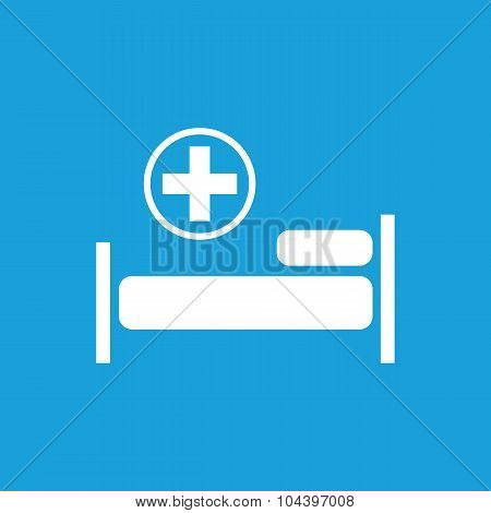 Hospital bed icon, white