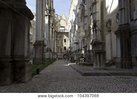 Carmo Convent In Lisbon, Lateral Corridor