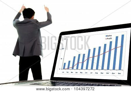 Success Business Man And Growth Graph
