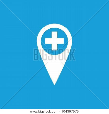 First aid marker icon, white