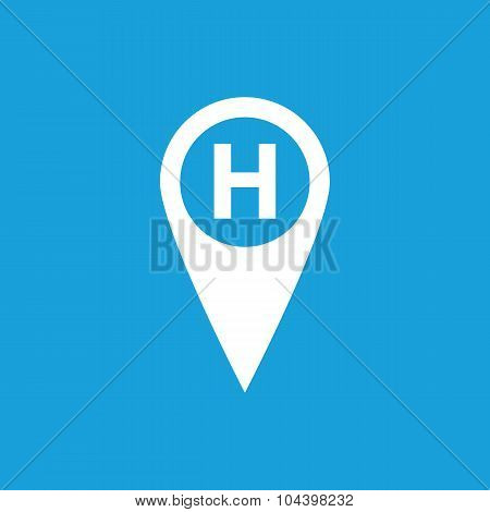 Hospital map marker icon, white