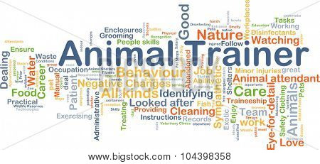 Background concept wordcloud illustration of animal trainer