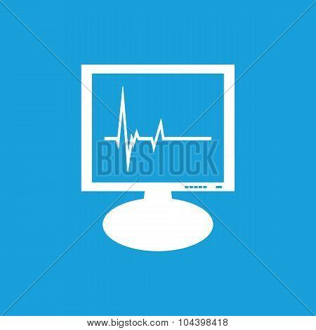 Cardiogram monitor icon, white