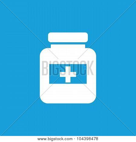 Drug jar icon, white