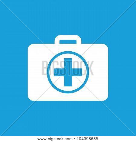 First aid kit icon, white