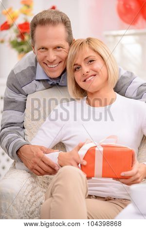 Loving couple celebrating St Valentine day