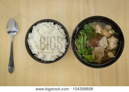 Pork soup made from pork bone with Ma-Li rice.break fast or diner Thai food