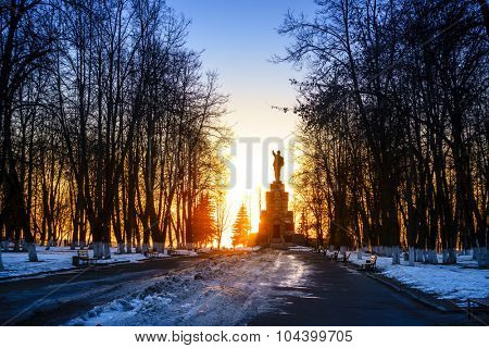 Lenin monument in Central Park in Kostroma, Russia at sunset