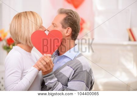 Agreeable couple celebrating St Valentine day