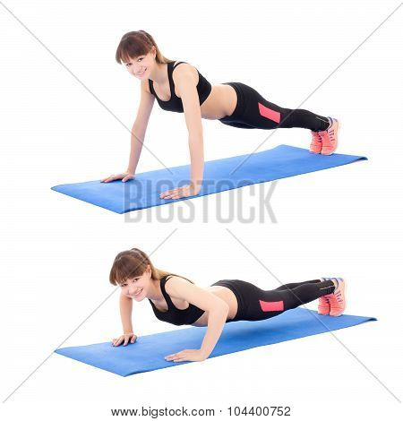 Sport Concept, Push Up Instruction - Young Woman Doing Push Up Exercise Isolated On White