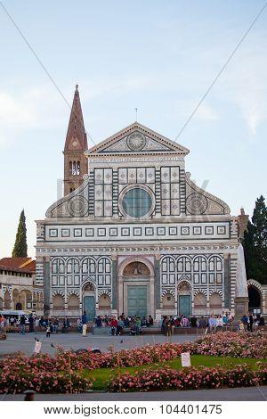 Tourists Near Basilica Di Santa Maria Novella.
